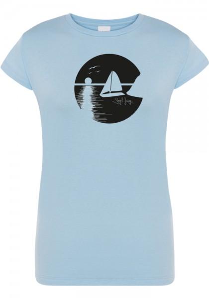 Segeljungs Damen Shirt - Sunset - hellblau