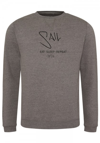 Segeljungs Herren Sweatshirt - Eat Sleep Repeat - grau