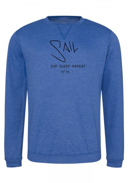 Segeljungs Herren Sweatshirt - Eat Sleep Repeat - blau
