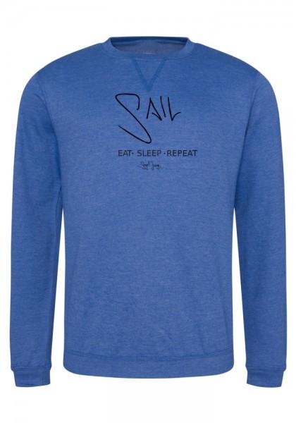 Segeljungs Herren Sweatshirt - Eat Sleep Repeat - blau